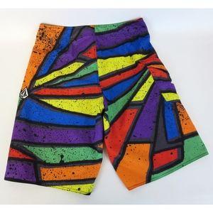 Volcom Sz 32 Wild Bright Color Board Shorts